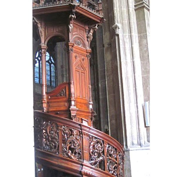 hand carved wood stair railing