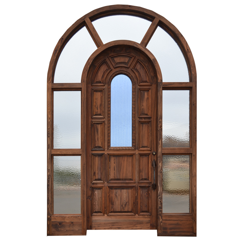arched wood glass entry door
