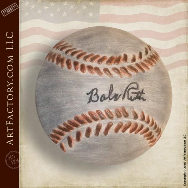 Babe Ruth Custom Door Pull Baseball With Facsimile Signature
