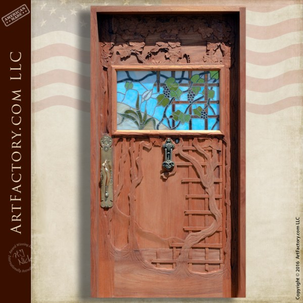 Stained Glass Carved Wine Door