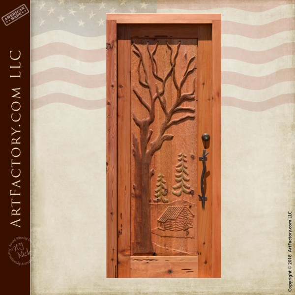 cabin carved front door