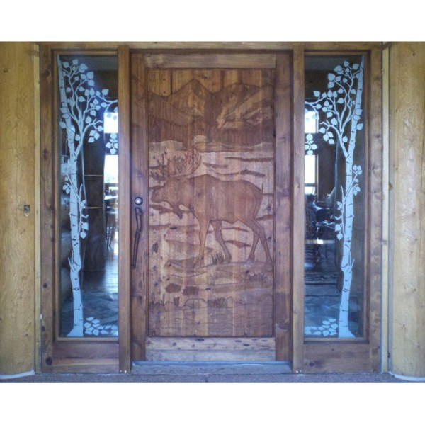 hand carved exterior door