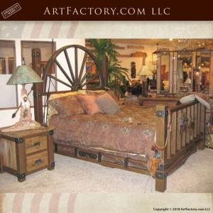 western style wagon wheel bed