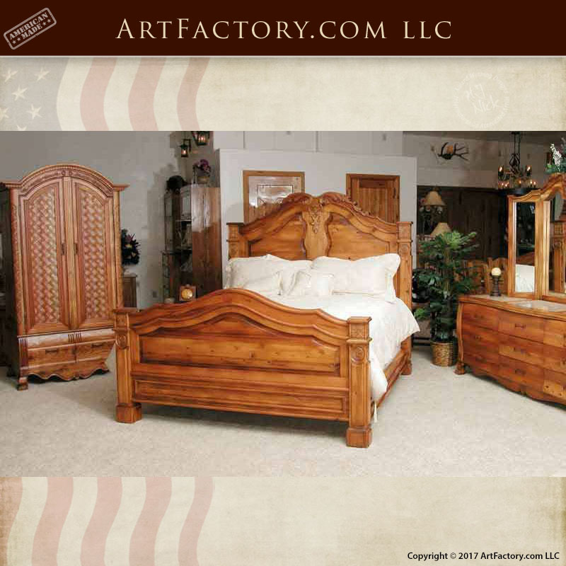 Hand Carved Bed: French Style Hand Carved King Bed: An H.J. Nick Fine Art