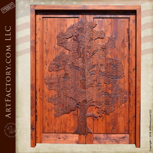 hand carved tree double doors