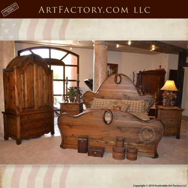 Art Nouveau Style Bedroom Set Matching Bed Armoire And Nightstands