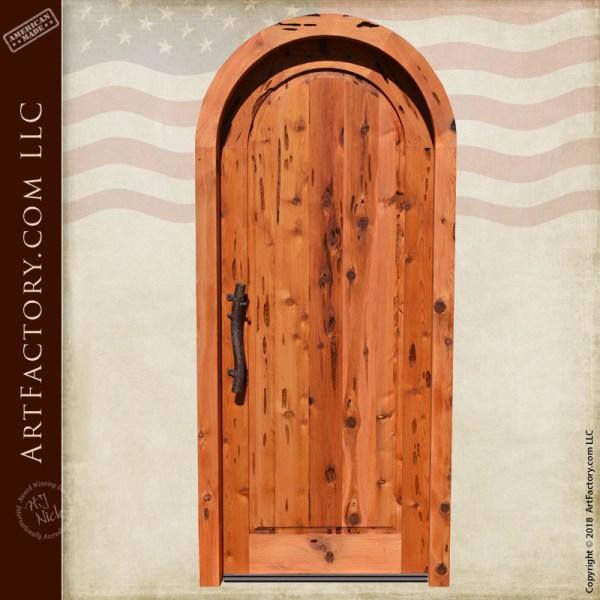 rustic arched wooden door