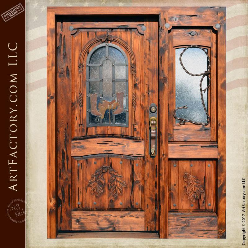 Western Style Cowboy Theme Door | H.J. Nick Original Carved Design \u2013 9861HC & Western Style Doors: Hand Forged Fine Art Custom Hardware