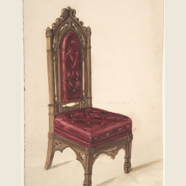 gothic style chair, dark wood frame