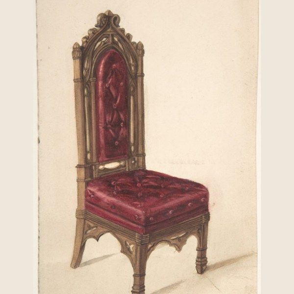 gothic style chair, dark wood frame