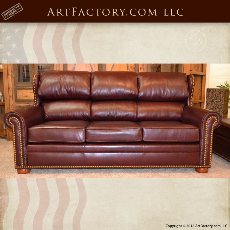custom wing back leather sofa