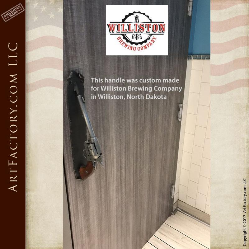 custom pistol door handlesat Williston Brewing Company