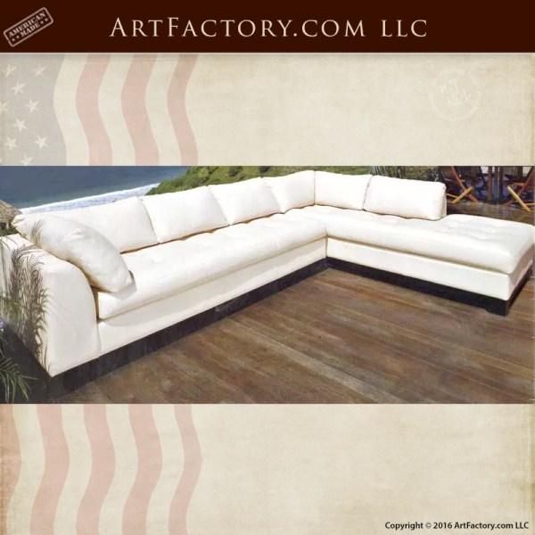 White Full Grain Designer Leather Sofa - Custom Furniture