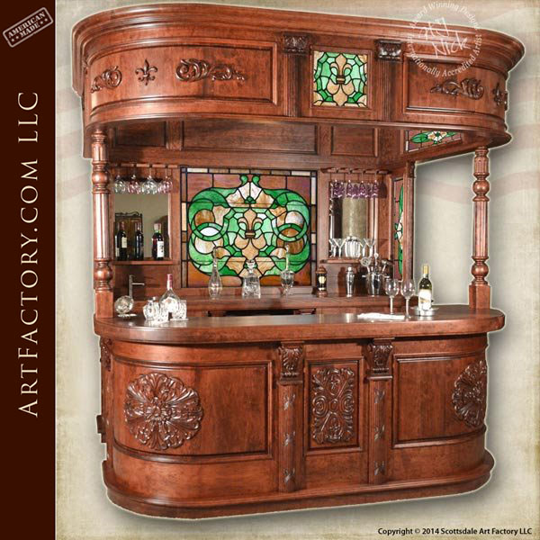 custom hand carved wood bar