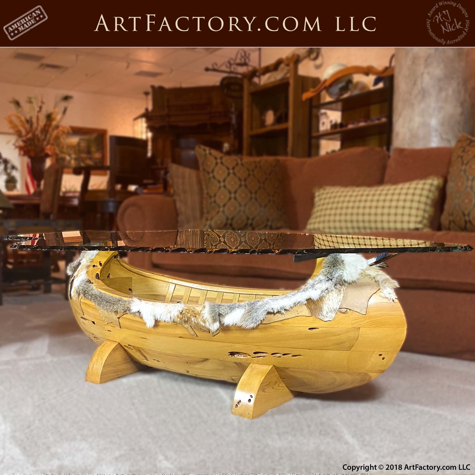 Arapaho Canoe Inspired Coffee Table: Fine Art Designs By H.J. Nick