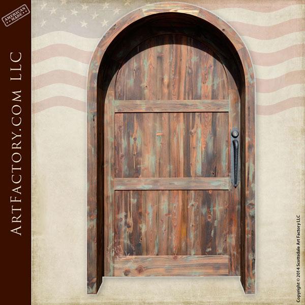 vertical plank arched front door