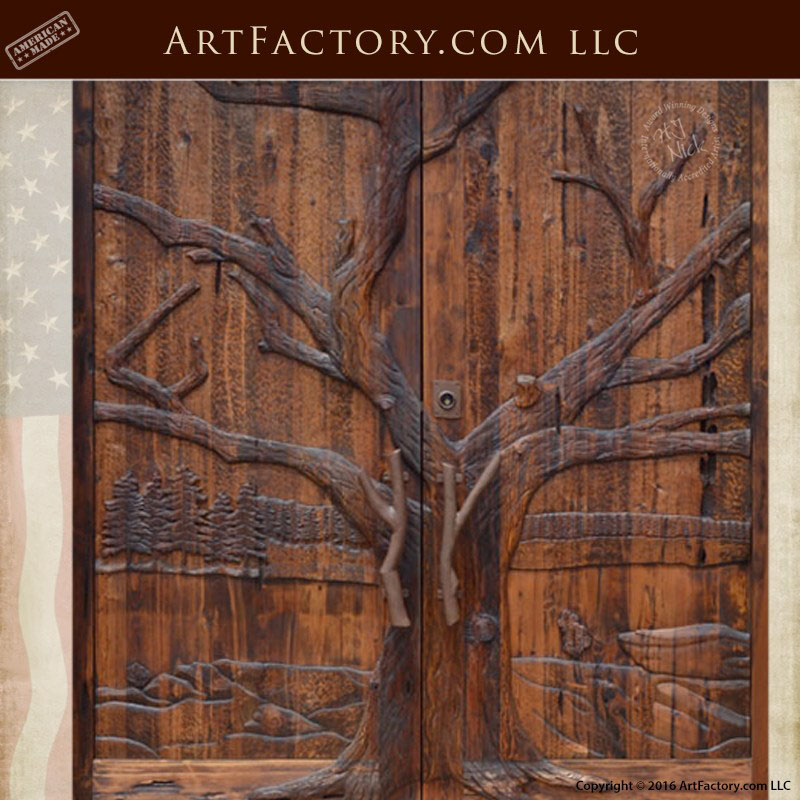 Oak Tree Hand Carved Grand Entrance