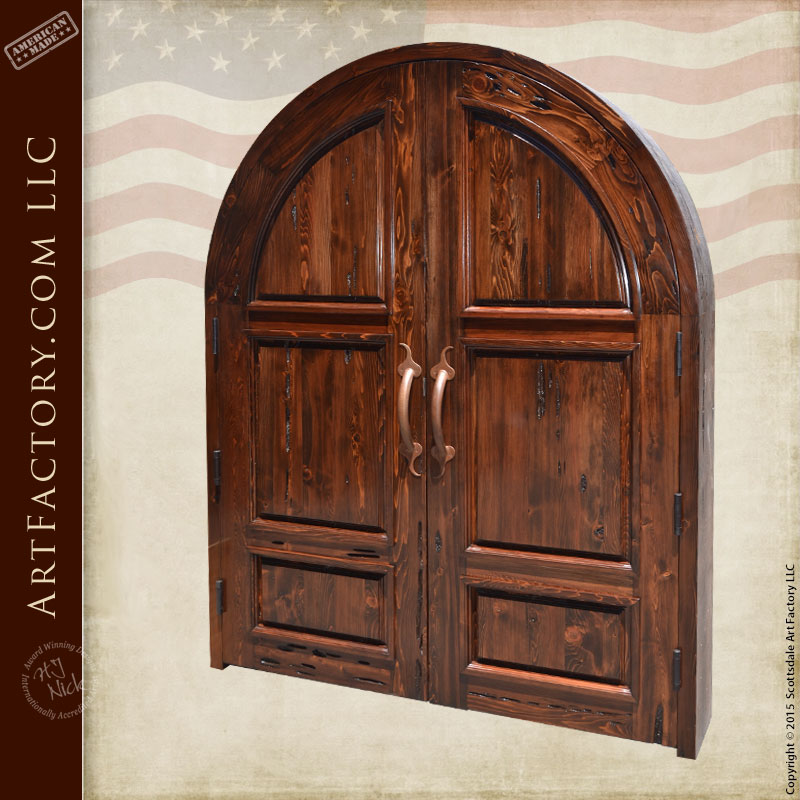 solid wood arched double doors