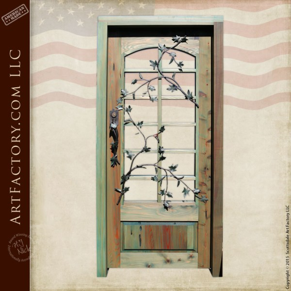 French paned glass wooden door