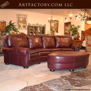 Curved Four Section Leather Sofa