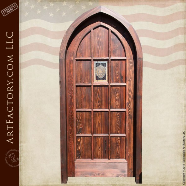 cathedral arched wooden door