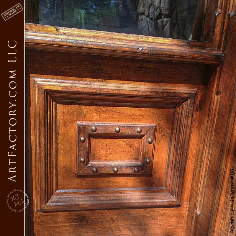 Old Tuscan Style Entry Door Hand Carved Solid Wood Door