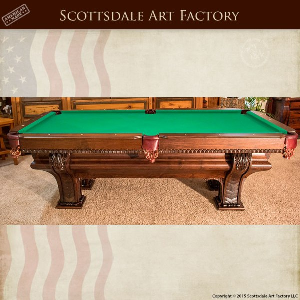 hand carved custom pool table