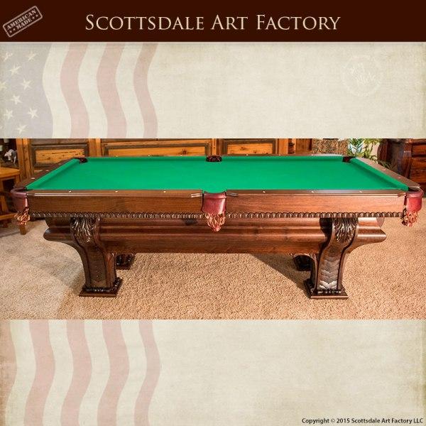 hand carved custom pool table