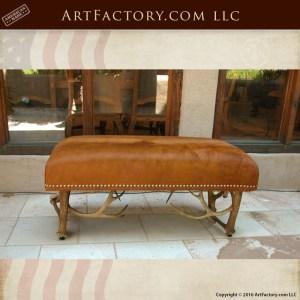 Elk Antler Leather Bench