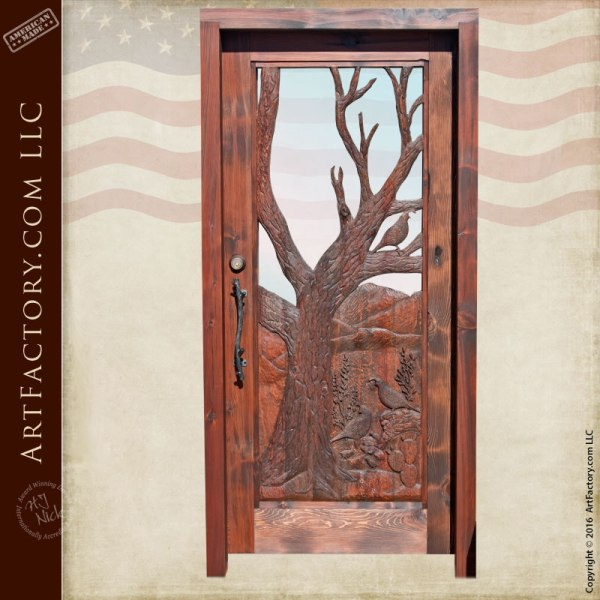 hand carved quail theme door