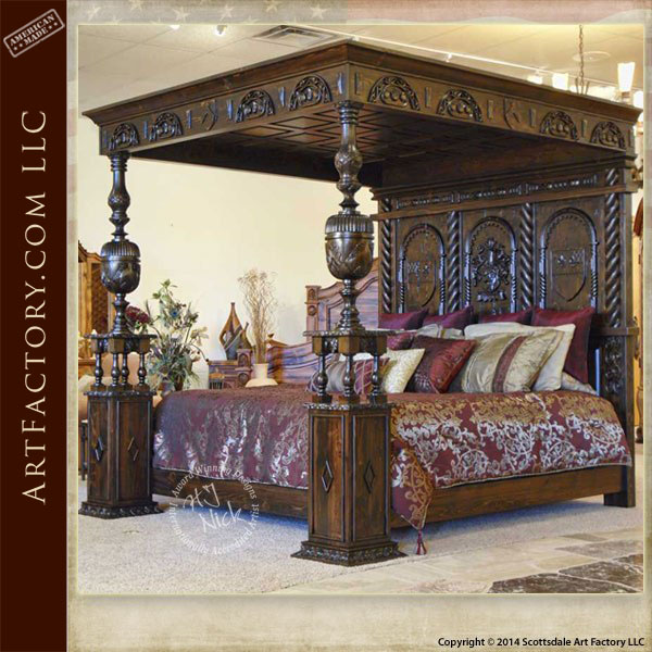 hand carved medieval canopy bed