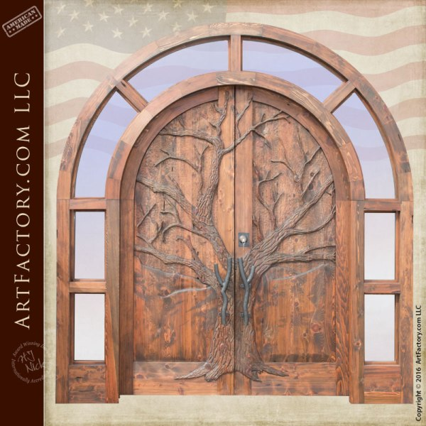 winter tree hand carved double doors