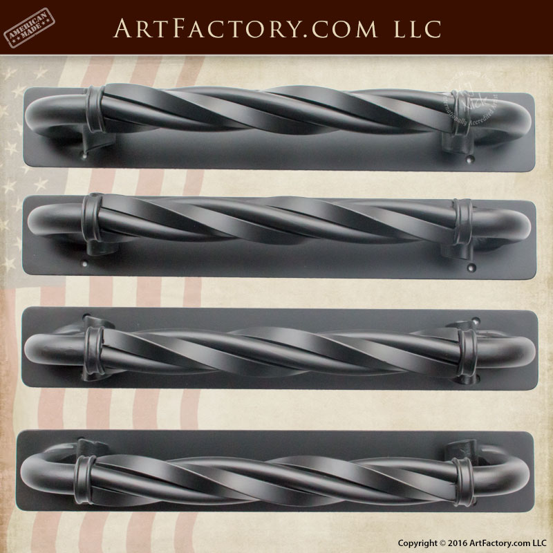Twisted C-Shaped Wrought Iron Door Pull