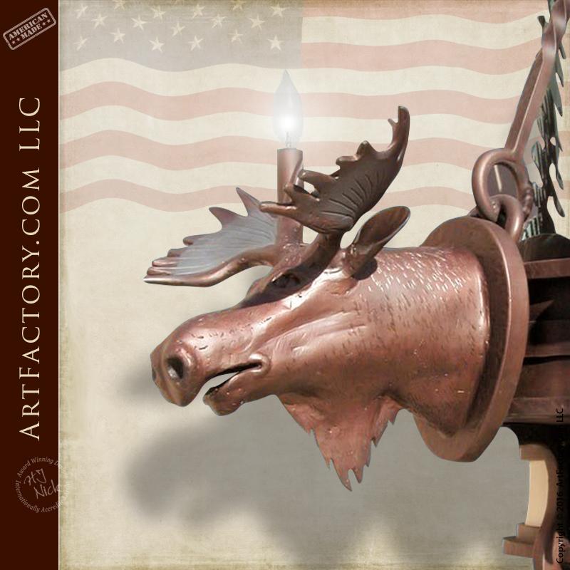 Custom Forged Moose Head Lighting
