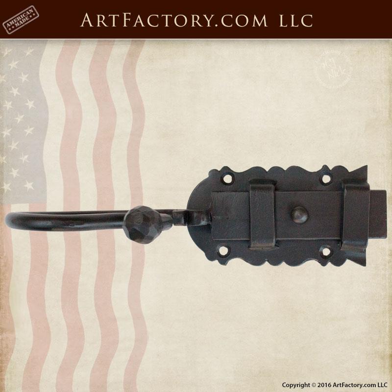 Custom Door Slide Bolt Latch, Hand Forged Iron Hardware