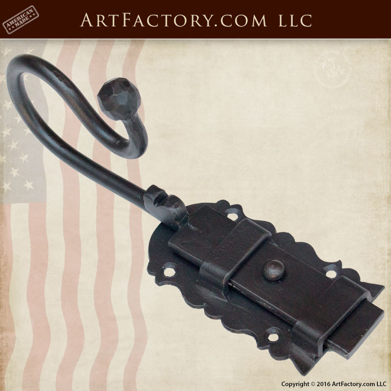 Custom Door Slide Bolt Latch, Hand Forged Iron Hardware