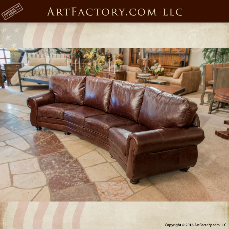 Curved Four Cushion Full Grain Leather Sofa U2013 CLS8900