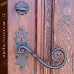 custom door with custom wrought iron hardware
