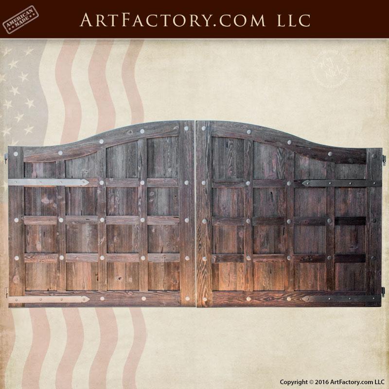 custom gates, solid wood gates, iron gate