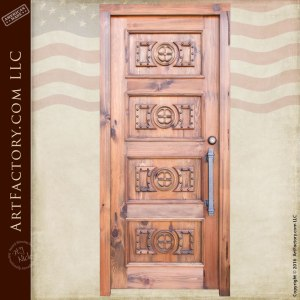 tree carved entrance door transom and matching side lights