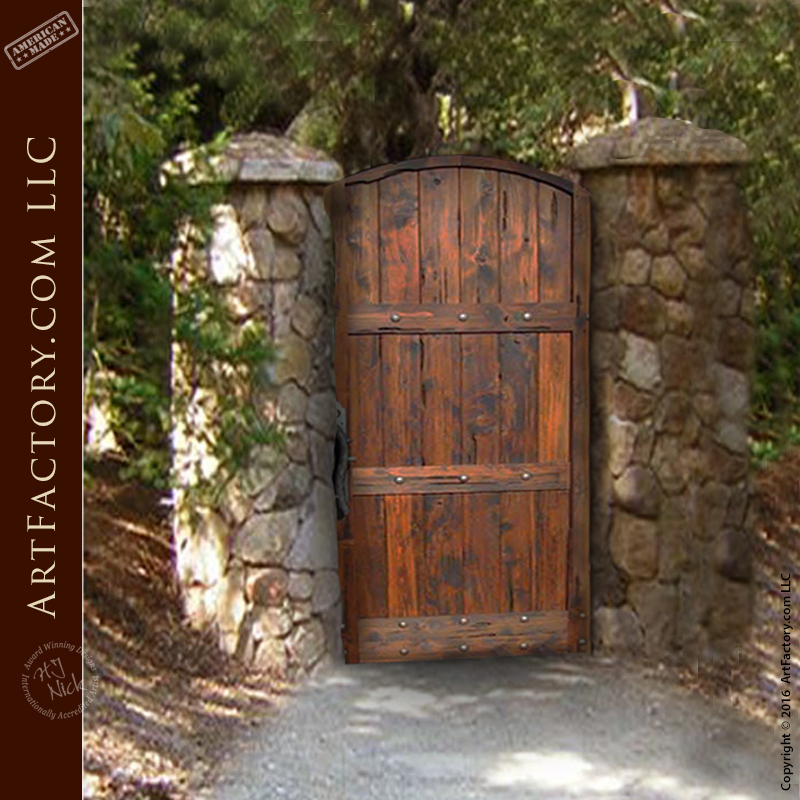 Rustic Garden Gate: Custom Handcrafted Arched Wooden Gates