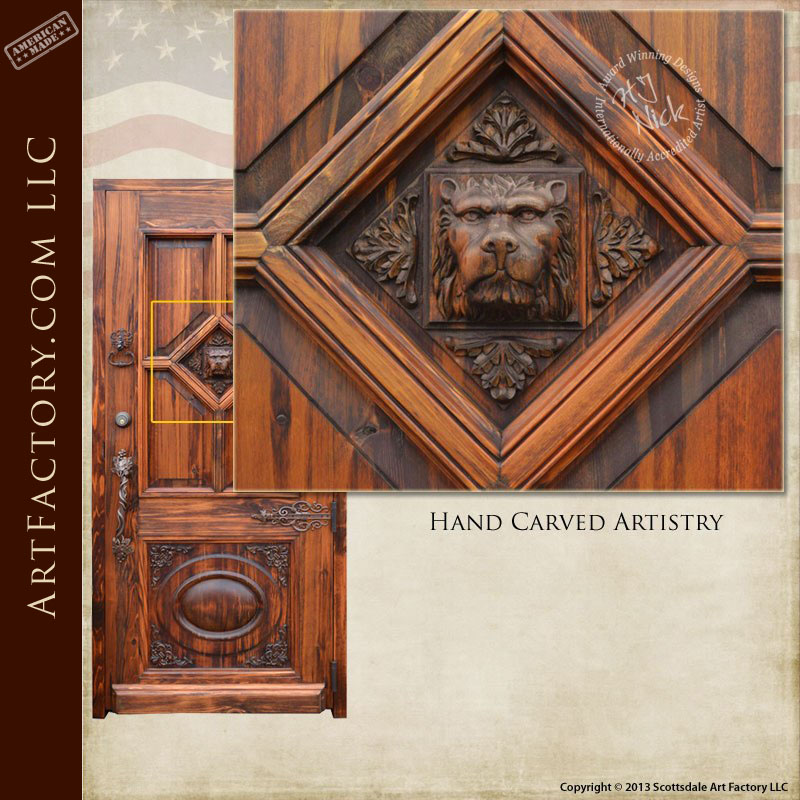 lions head hand carved door