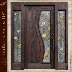 tulip stained glass door, custom craftsman style doors
