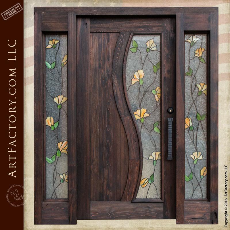 Front Door Designs Australia: Tulip Stained Glass Door: Craftsman Entry Door With Sidelights
