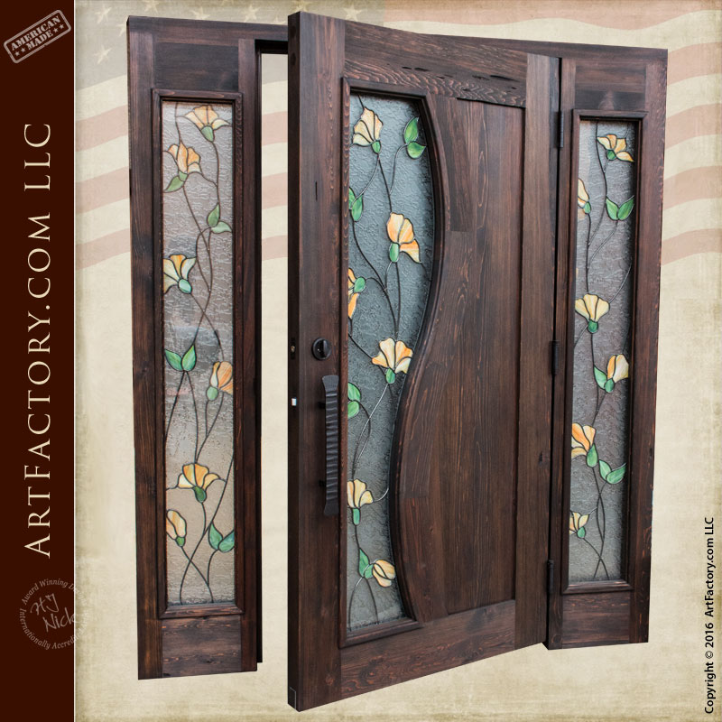 tulip stained glass door & Tulip Stained Glass Door: Craftsman Entry Door With Sidelights