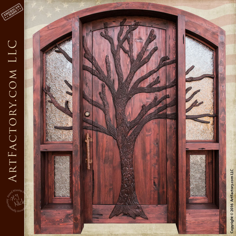 lodge theme solid wood door ... & Hand Carved Tree Entrance Door: Lodge or Cabin Doors with Sidelights