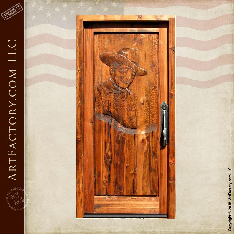 John Wayne Hand Carved Door John Wayne Hand Carved Door & John Wayne Hand Carved Door: Custom Western Style Wood Doors