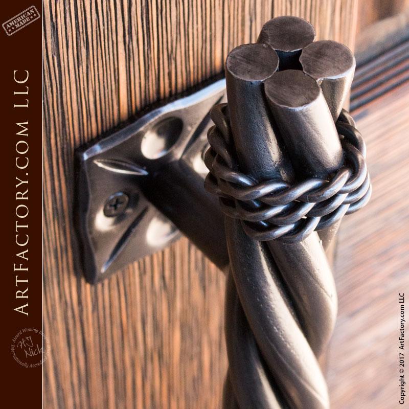 Long Twist Door Pull Custom Hand Forged Door Hardware