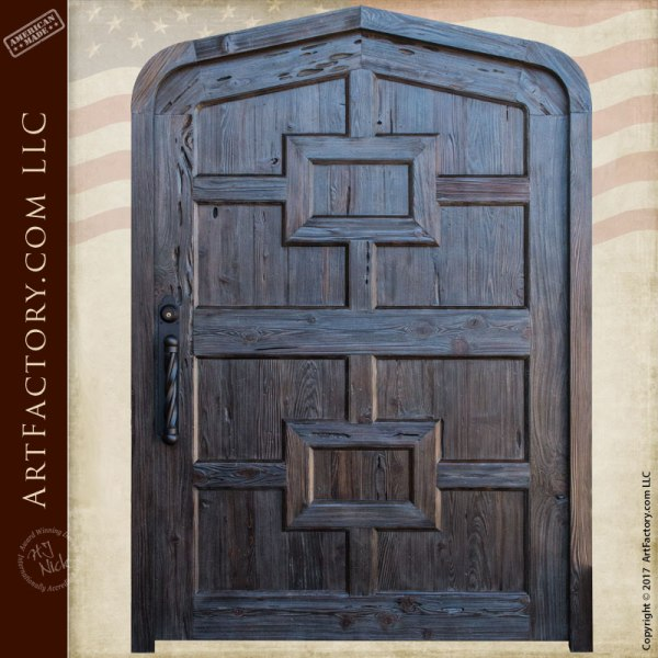 Gambrel Style Arched Entry Door Handcrafted Solid Wood Design