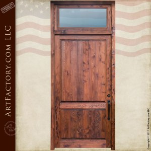 Custom Solid Wood Front Door Pre Hung With Transom Window Wd
